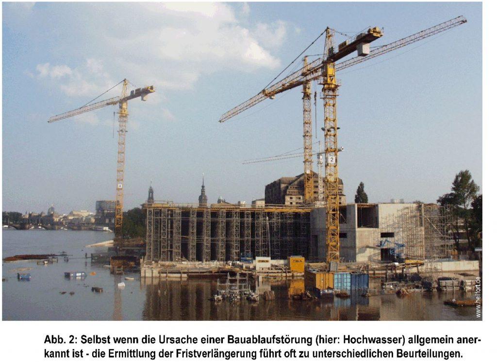 Bauablaufstörung aufgrund von Hochwasser